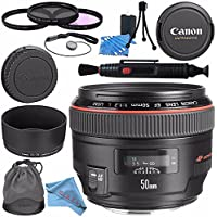 Canon EF 50mm f/1.2L USM Lens 1257B002 + 77mm 3 Piece Filter Kit + Lens Cleaning Kit + Lens Pen Cleaner + Fibercloth Bundle