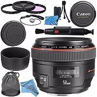 Canon EF 50mm f/1.2L USM Lens 1257B002 + 77mm 3 Piece Filter Kit + Lens Cleaning Kit + Lens Pen Cleaner + Fibercloth Bundle