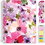 HARDCOVER Academic Planner 2019-2020: (July 2019 Through July 2020) 8.5x11 Daily Weekly Monthly Planner Yearly Agenda. Bonus Bookmark, Pocket Folder and Sticky Note Set (Spring Floral) Larger Image