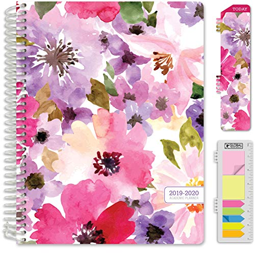 "HARDCOVER Academic Year 2019-2020 Planner: (July 2019 Through July 2020) 8.5""x11"" Daily Weekly Monthly Planner Yearly Agenda. Bonus Bookmark, Pocket Folder and Sticky Note Set (Spring Floral)"