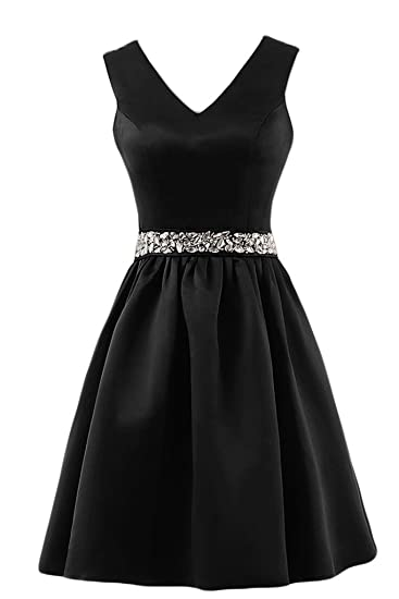 Sunvary A-line V-neck Beads Bow Sash Prom Dresses Homecoming Gowns-6