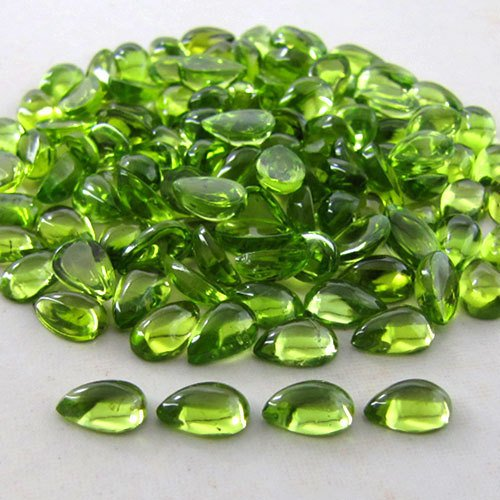 Natural Peridot 4x3mm 5 Pieces Pear Cabochon Si Quality Green Color Gemstone Wholesale Lot for Sale
