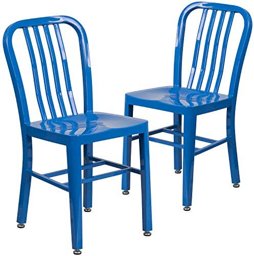 picture of Flash Furniture 2 Pack Blue Metal Indoor-Outdoor Chair