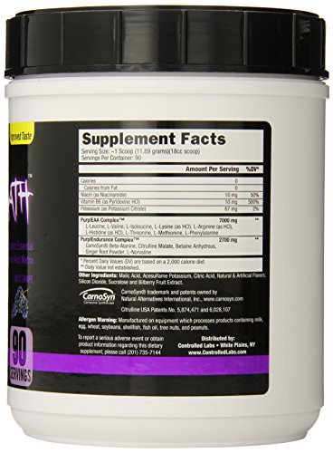 Controlled Labs Purple Wraath, Ergogenic Essential Amino Acid Matrix, 90 Serving, Juicy Grape, 2.35-Pound Tub