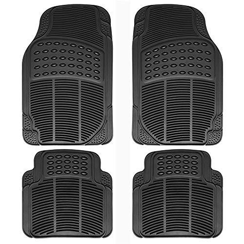 Autoday 4pc Anti Slip Waterproof Car Floor Mat Advanced Performance Liners for Car SUV Trucks & Vans All Weather Protection (Full Set Trimmable Heavy Duty Black)