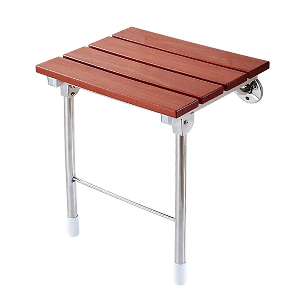 バスチェアステンレス製の折り畳み式のバススツール無垢材の折り畳み式の椅子の壁のスツールの壁の椅子高齢のバスルームの席靴のベンチ   B07G18TZ2W