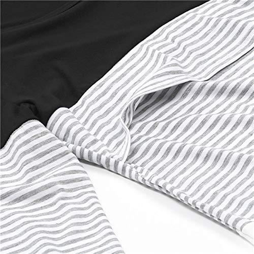 infermieristica camicetta camicia donne QinMM mamma a lunghe maniche vestiti bambino strisce infermieristica Incinta maternità Nero incinta RFq5x5TEnw