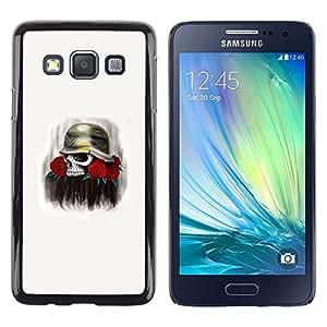 Be Good Phone Accessory // Dura Cáscara cubierta Protectora Caso Carcasa Funda de Protección para Samsung Galaxy A3 SM-A300 // Solider Rose Skull Death Flowers War