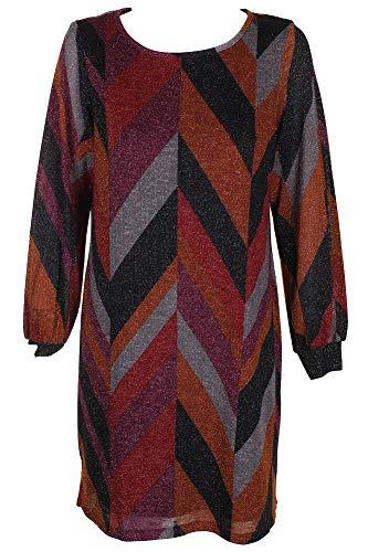 Metallic Shift - MSK Women's Metallic-Knit Shift Dress (Multi, X-Large)