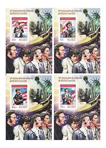 Beatles collectors stamp set - 4 mint imperforated Beatles stamp sheets with (Imperforated Sheet)