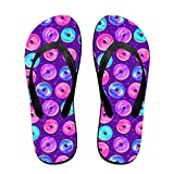 Couple Slipper Doughnut Purple Print Flip Flops Unisex Chic Sandals Rubber Non-Slip Spa Thong Slippers