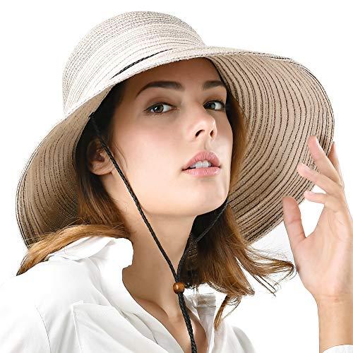 45d0a9dd Wide Brim Floppy Sun Hat 100% Cotton Packable Summer Beach Hats for Women