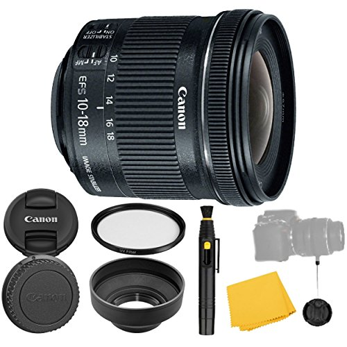 Canon EF-S 10-18mm f/4.5-5.6 IS STM Lens + UV Filter + Collapsible Rubber Lens Hood + Lens Cleaning Pen + Lens Cap Keeper + Cleaning Cloth - 10-18mm STM: Stepper - 10 Lens Cloth