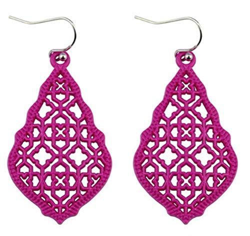 StylesILove Womens Trendy Moroccan Matte Hollow Filigree Clover Motif Dangle Earrings (Hot Pink)