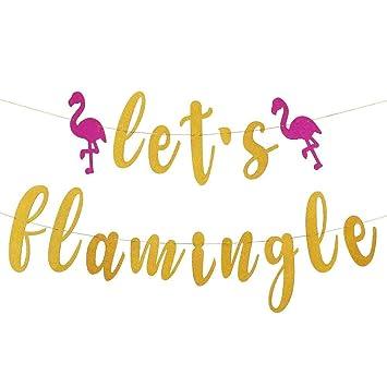 Samahara Lets Flamingle Banner Hawaiian Luau Flamingo Bachelorette Party  Supplies Summer Party