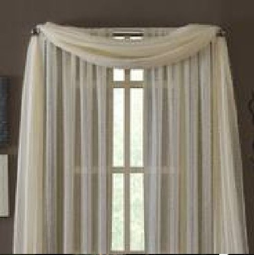 (MONAGIFTS BEIGE IVORY CREAM OFF WHITE Scarf Voile Window Panel Solid sheer valance curtains 216