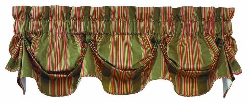 WAVERLY Sweetwater Stripe Window Valance, Olive for $<!---->