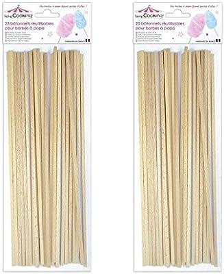 Palitos de madera reutilizables para algodón de azúcar x 50 ...