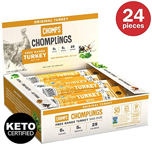 (CHOMPS MINI Free Range Turkey Jerky Meat Snack Sticks | Keto Certified, Whole30 Approved, Paleo, Low Carb, High Protein, Gluten Free, Sugar Free | 29 Calorie 0.5 Oz Sticks, Original Turkey 24 Pack)