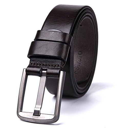 FShero Men's Soft Genuine Leather Belt with Sliver (Young Belt)