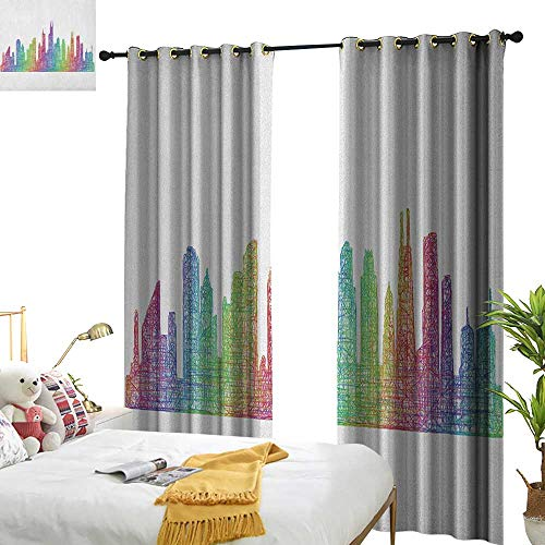 WinfreyDecor Thermal Curtains Chicago Skyline Abstract City Scene in Mixed Rainbow Tones Modern Featured Artful Kitsch for Living, Dining, Bedroom (Pair) W72 x L96 Multicolor