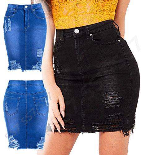 Bleu 10 neuf femmes Bleu dames EXTENSIBLE jupe 14 8 taille JEANS Jupes Jean crayon dchir SS7 12 Pxfaga