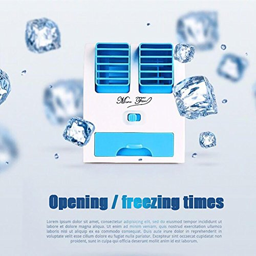 JiaQi Mini Air Conditioning,Portable Air Cooler,Cooling Small Fan Usb Office Humidifier Hostel-Blue 12x11x15cm(5x4x6inch) by JiaQi (Image #1)