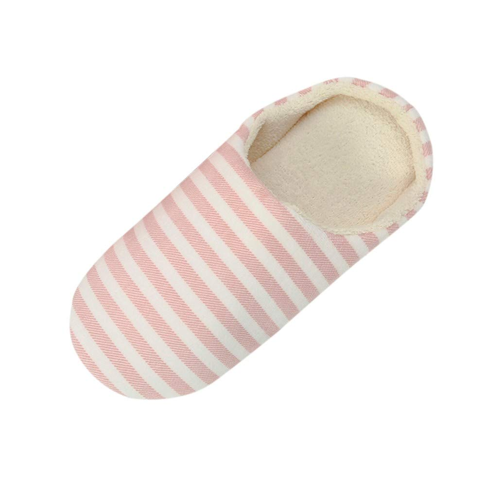 Bollysky Cute Home Shoes, Women Men Warm Striped Slipper IndoorsAnti-Slip Winter House Shoes for Cold Weather by Bollysky