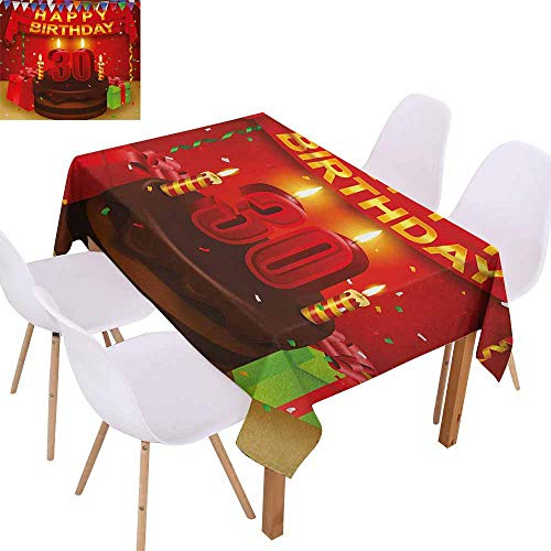 (UHOO2018 30th Birthday,Premium Tablecloth,Celebration with Chocolate Tasty Cream Cake with Colorful Flags and Gifts,Stain Resistant, Wrinkle Resistant,Multicolor,55