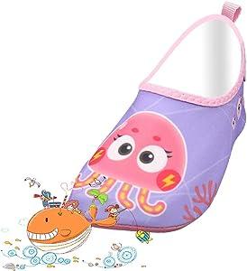 Kid Girl Boy Swim Water Shoes Toddler Baby Owl Barefoot Anti-Slip Quick Dry Aqua Shoes Socks for Beach Pool Swimming Surf