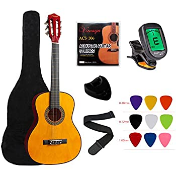 YMC Classical Guitar 1 2 Size 34 Inch Nylon Strings Acoustic Starter Pack With Carrying Case Accessories For Beginner Students Children