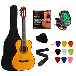 "YMC Classical Guitar 1/2 Size 34"" Inch Nylon Strings Classical Acoustic Guitar Starter Pack With Carrying Case…"