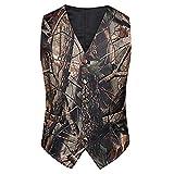 Tailorsun Mens Slim Fit Big Tree Camo Camouflage Vest Prom Wedding Vest (M Chest:38-40 inches)