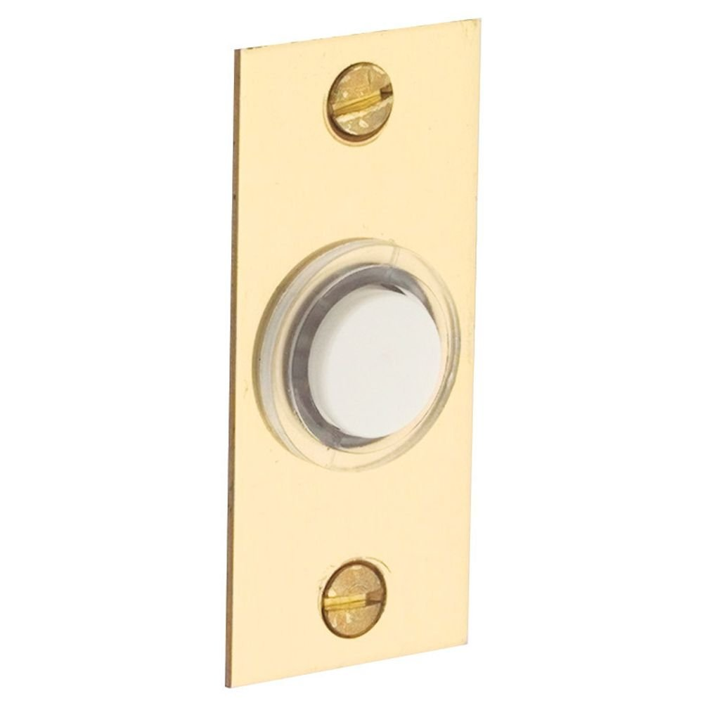 Baldwin 4853003 Rectangular Bell Button, Lifetime Brass