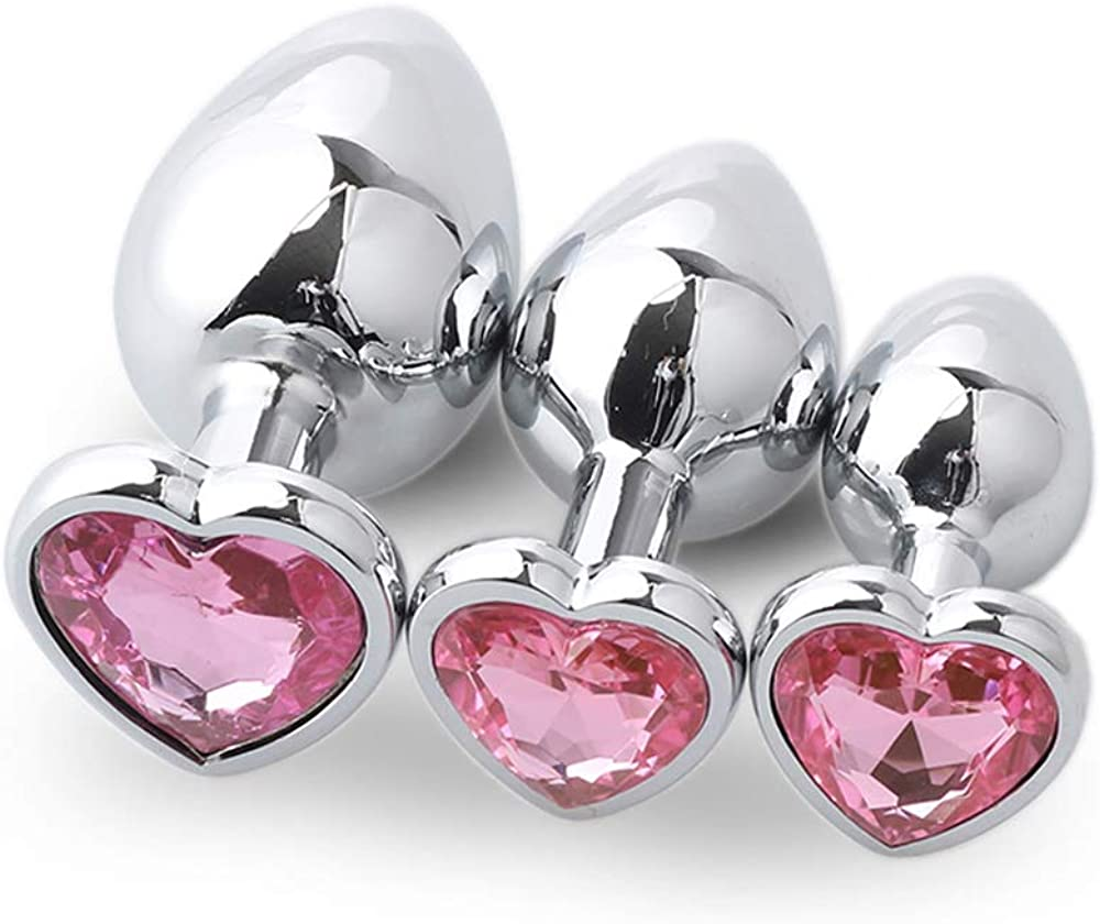 Vborts 3Pcs Set Metal Pink Heart Crystal Jeweled Inlaid