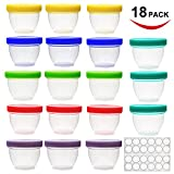 4 oz baby food - 18 Pack Baby Food Storage, 4 oz Baby Food Containers with Lids, 6 Assorted Colors, with Free Lids Labels