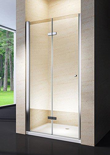 Porta doccia a soffietto libro cristallo 6mm trasparente e alluminio cromo h.190cm CLIO (100cm (98/102) MITEPEK