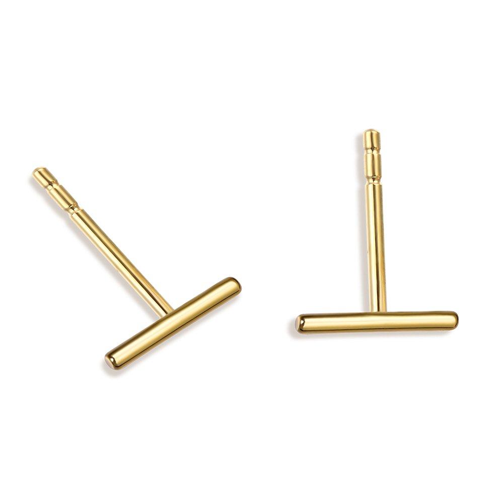 Minimalist 925 Sterling Silver Stud Earrings Gold Bar Earrings Line Earrings Simplify Stick Earrings (Gold-Skinny)