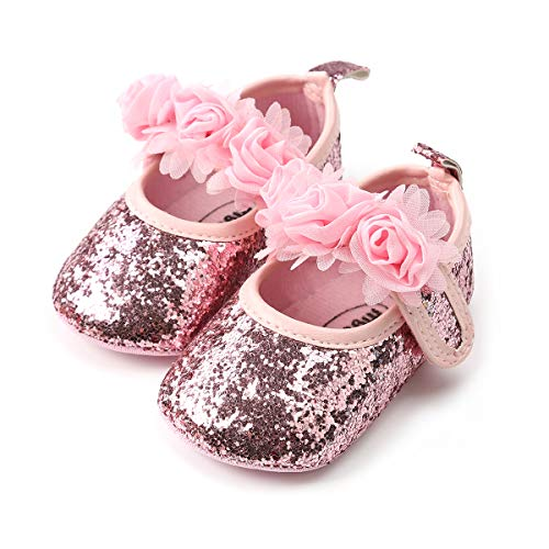 QGAKAGO Infant Baby Girls Princess Patent-Leather Bowknot Soft Sole Mary Jane Shoes (S: 4.25 inch(0~6 Months), Shining Pink)
