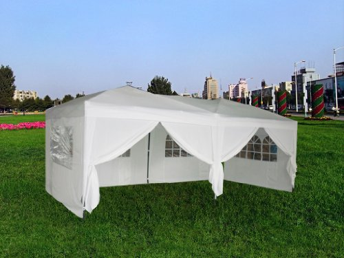 EXACME New White 10'x20′ POP up Wall Wedding Canopy Party Tent Gazebo with Carry Case, Outdoor Stuffs