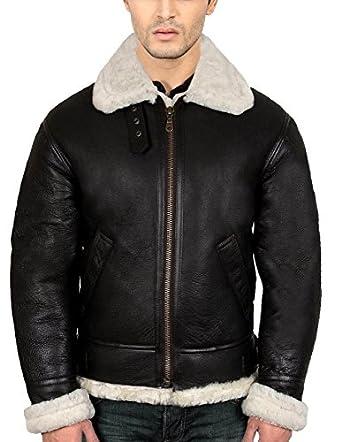 B3 Bomber Shearling Black Leather Jacket Best Seller L Black