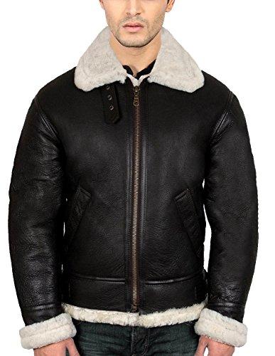 "B3 Bomber Shearling Black Leather Jacket, ""Best Seller"" (..."