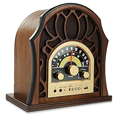 Pyle Retro AM/FM Bluetooth Radio 3.5MM Input Jack with Full-Range Speaker, Walnut Full-Range Stereo Speakers   Vintage Style Classic Design (PUNP37BT)