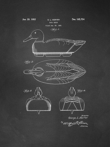 Framable Patent Art Original Ready to Frame Décor Duck Decoy Hunting Shooting 8in by 10in Poster Print Chalkboard PAPXSSP220C from Framable Patent Art