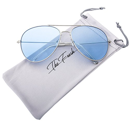 The Fresh Classic Metal Frame Light Color Lens XL Oversized Aviator Sunglasses with Gift Box (1-Silver, Blue) (Blue Sun Glasses)