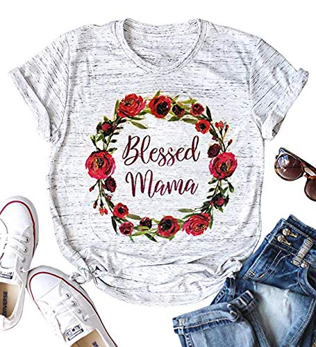 YUYUEYUE Women's Blessed Mama Letters T Shirt Short Sleeve Tops Tee (Medium, Light Gray)