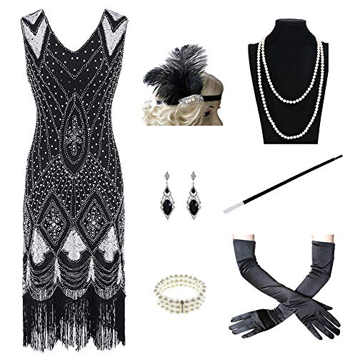 1920s Women's Gatsby Costume Flapper Dresses V Neck Fringed Dress with 20s Accessories Set of 7 ()