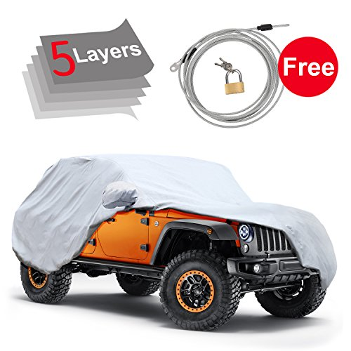 Covers Wrangler (5 Layers Custom Fit Car Cover for Jeep Wrangler 2 Door 2007-2017, Waterproof Windproof for Indoor Outdoor, Rain, Snow, Ice, Sun UV Weather Prevention, Windproof Ribbon & Anti-theft Lock)