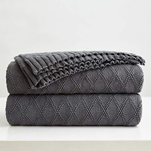 Longhui bedding Charcoal Grey Cotton Throw Blanket for Couch Sofa Bed - Home Decorative Soft Cozy Sweater Fall Cable Knit Blankets -Dark Gray 2.2 pounds 50 x 60 Inch (Cotton Throws Best)