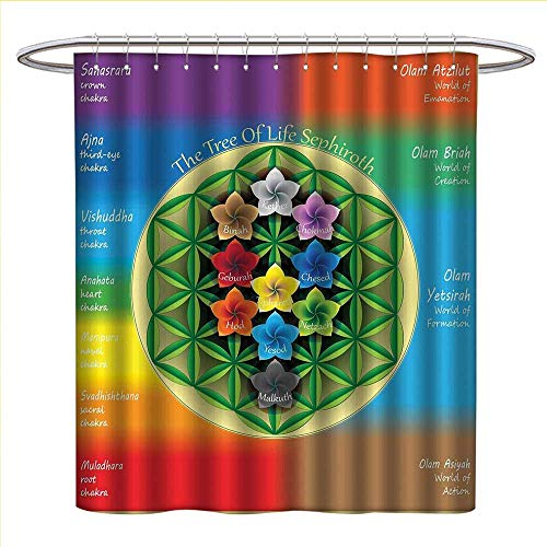 longbuyer Abstract Shower Curtains Sets Bathroom Tree of Life Chart with Spiritual Chakra and Universe Icons Flowers Yoga Pattern Satin Fabric Sets Bathroom W69 x L70 Multicolor